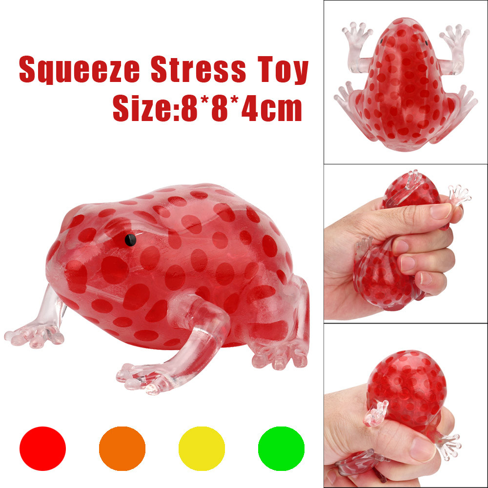 Squeeze Toy 8cm Bead Stress Ball Sticky Squeeze Frogs Squeezing Stress Relief Toy Novelty Animals Antistress Squish For Children