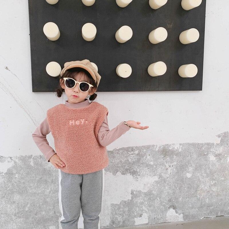 WLG Autumn winter BOYS girls vest kids velvet o-neck sleeveless letter pattern vest baby boy girl casual clothes 4