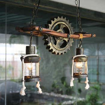 Amerikaanse Houten  Industrieel plafondlamp 4