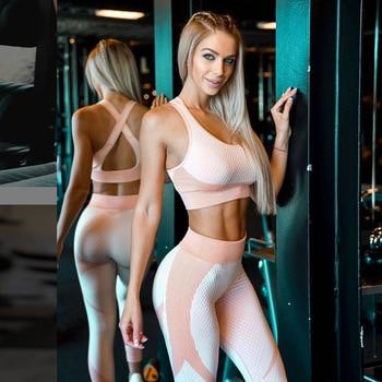 Fitness Women Yoga Set Criss Cross Ensemble Gym Wear Running Clothes Sportswear Sexy Sport Suit Tracksuit Tank Top Legging,ZF281 1