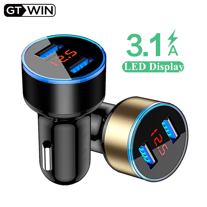 GTWIN 3.1A Dual USB Car Charger With LED Display Universal Mobile Phone Car-Charger For Xiaomi Samsung Huawei IPhone IPad Tablet