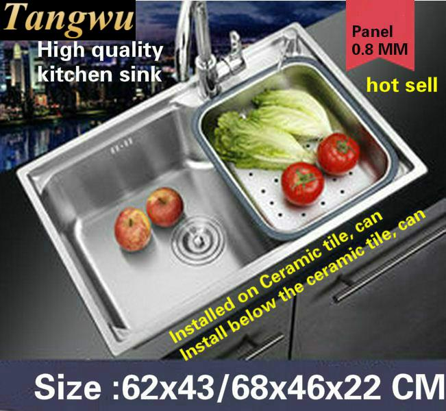 Tangwu High-grade Kitchen Sink Single-tank Food-grade 304 Stainless Steel 0.8 MM Thick Washing The Dishes 62X43/68X46X22 CM