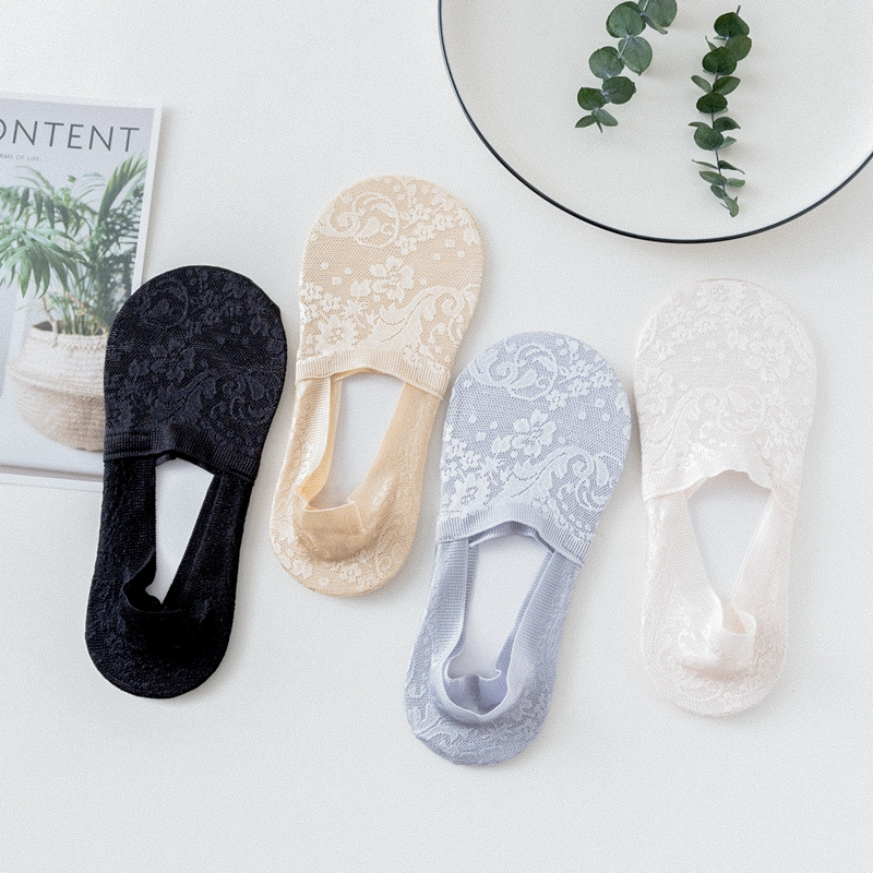 4 Pairs/Lot Summer Woman Girls Lace Flower Short Boat Sock Antiskid Invisible Amozae Ankle Socks Thin Women Cool Anti-Slip Socks