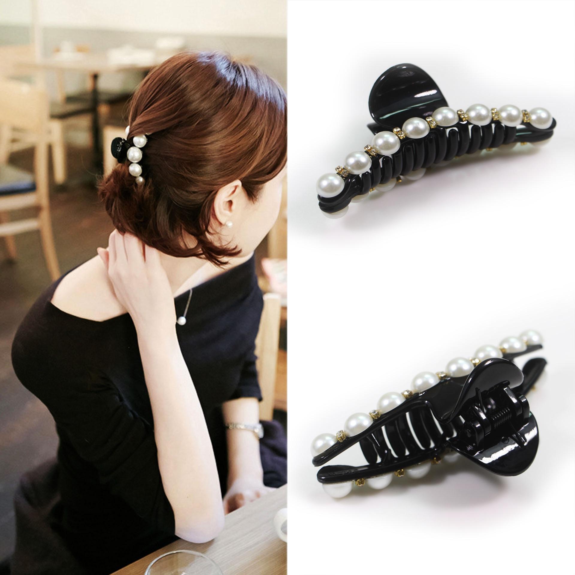 Luxury Pearls Hairpins Black Crystal Hair Banana Clips Small Grasp Clip Hairpin Accessories Headwear