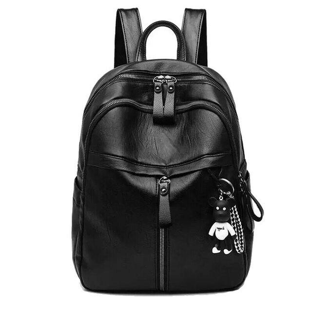 حقيبة ظهر نسائية من الجلد الصناعي على الموضة حقائب ظهر سوداء للسيدات أكياس بسحاب حقيبة ظهر صلبة للطلاب للبنات مع قلادة تحمل على شكل دب 3