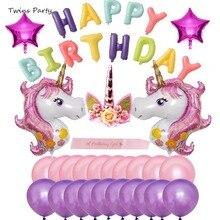 Twins Party Animal Happy Birthday Unicorn Set Supplies Baby Girl Heart Ballons Cartoon Balloons