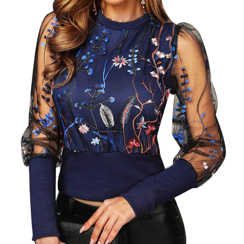 AOTTER SLULIAN 2020 New Fashion Women Blouses Tops Floral Embroidery Long Sleeve Round Neck Sheer Mesh Insert Blouse