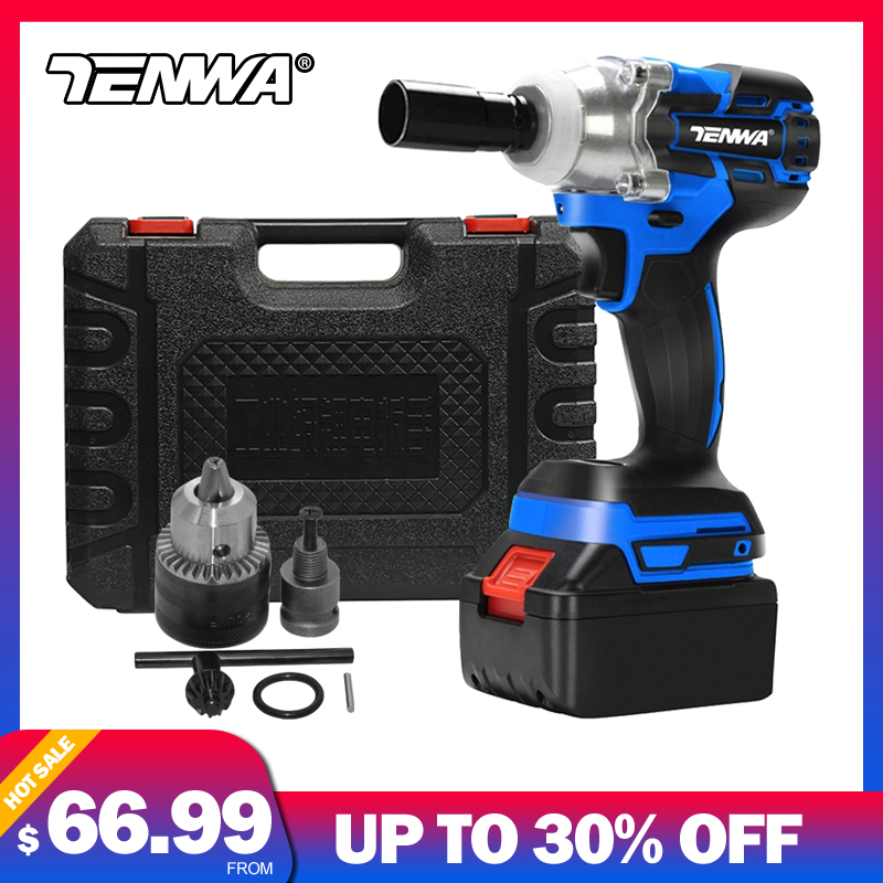 TENWA Brushless Wrench Cordless Electric Impact Socket Wrench 21V 4000mAh Li Battery Hand Drill Installation Power Tools