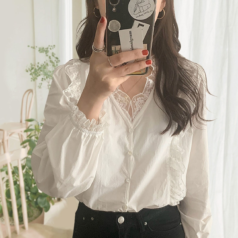 Blouse Femme Autumn V-neck Loose Breathable Simple And Elegant Lace Stitching White Shirt Sweet Petal Sleeves Solid Color Shirt