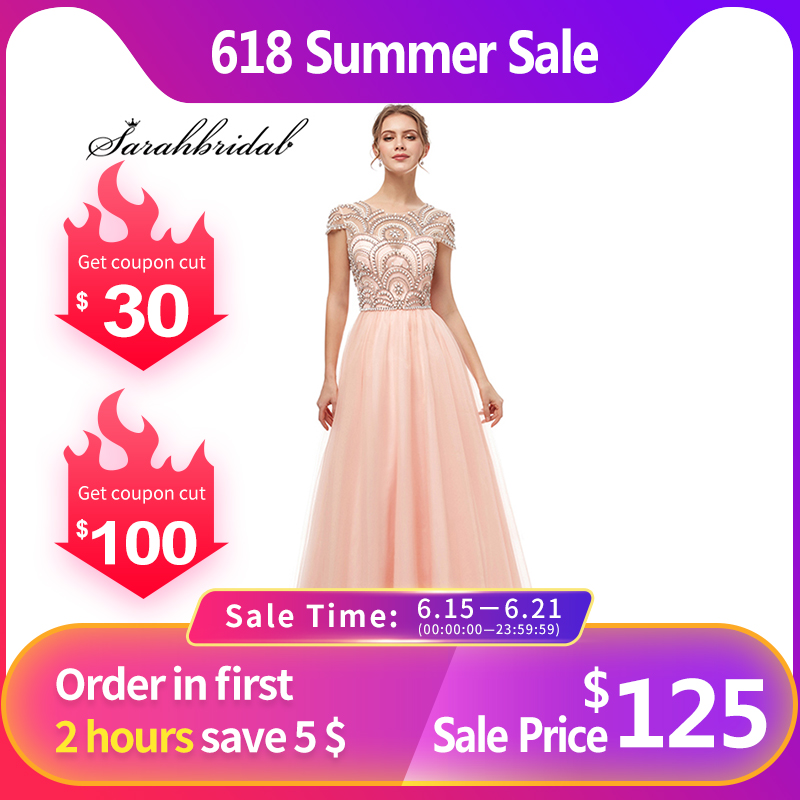New Formal Wear 3 Layers Evening Long Dresses Elegant Women Tulle Cap Sleeve Beading Prom Party Gowns Special Occasion L5222Evening Dresses   -