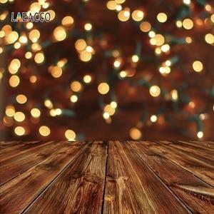 Image 5 - Laeacco לשנה טובה המפלגה Photophone שעון אור Bokeh עץ רצפת צילום תפאורות תינוק יילוד רקע צילום נכס