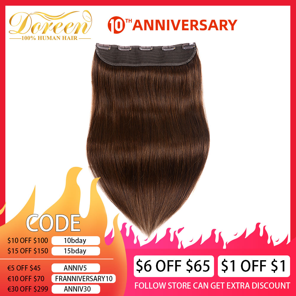 Doreen #1 #1b #2 #4 #8 100g 120g Brown Brazilian Machine Made Remy Clip In One Piece Human Hair Extensions  16inch-22inch