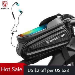 Image 1 - Колеса до 7,0 дюймов Водонепроницаемый велосипедная сумка переднюю верхнюю раму жесткий корпус сумка чехол для телефона сумка с сенсорным экраном MTB велосипед аксессуары