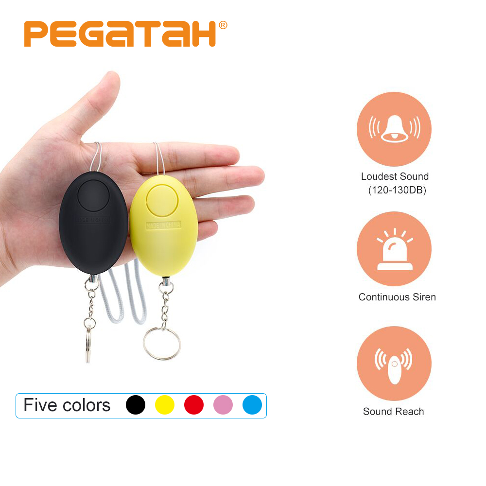 Cheap Self Defense Alarm <font><b>120dB</b></font> Egg Shape Girl Women Security Protect Alert Personal Safety Scream Loud Keychain Emergency Alarm image