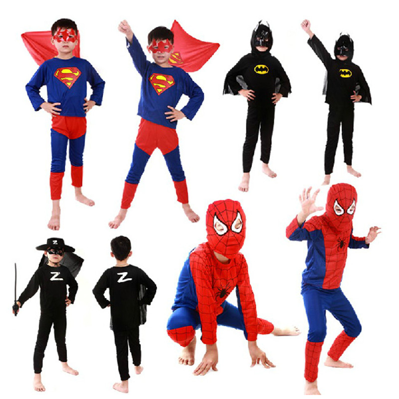 Kids Boy Superman Batman Spider Man Cosplay Movie Children Halloween Anime Costume Purim Parade Stage Show Role Play Party Dress