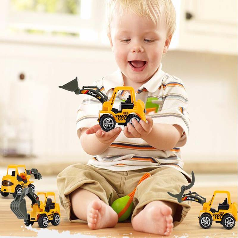 6Pcs Children's Traffic Construction Vehicle Toy Bulldozer Earth-moving Machine Dump Truck Roller Car For Boy's Kid To Play