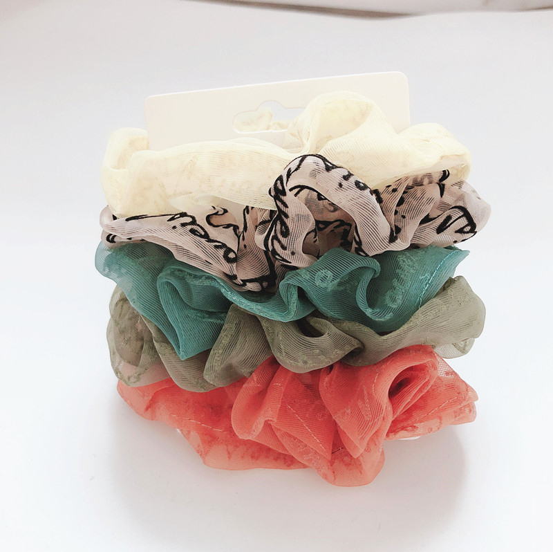5pcs Hair Band Accessories Chiffon Scrunchy For Women Letters Print Snow Yarn Scrunchies For Girl Flower Fabrics Hair Elastic
