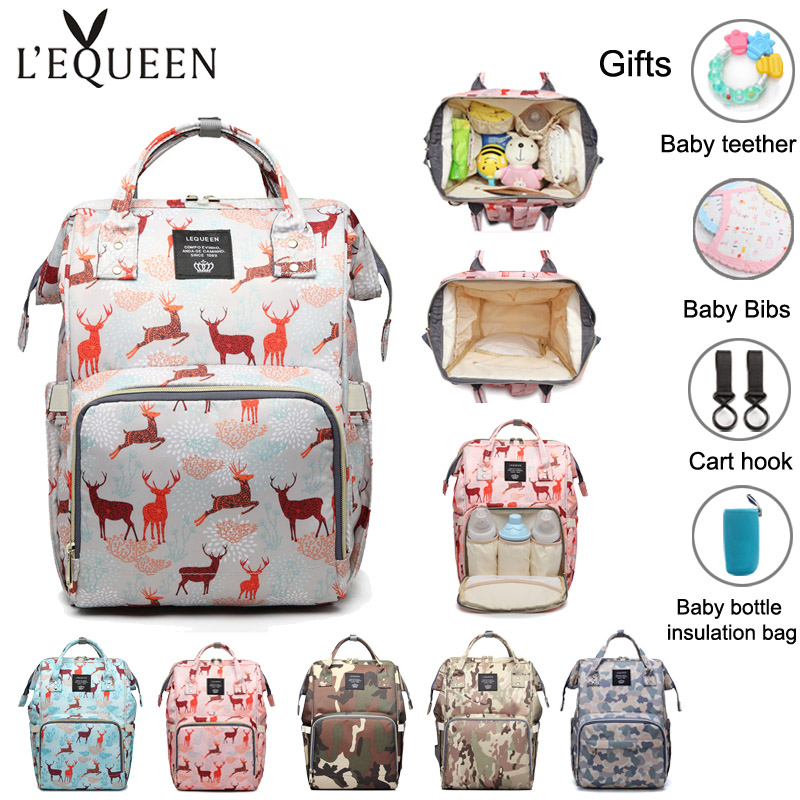 Lequeen Baby Diaper Bags Large Capacity Maternity Backpack Waterproof Mommy Nappy Bag Outdoor Travel Insulation Nursing Bags