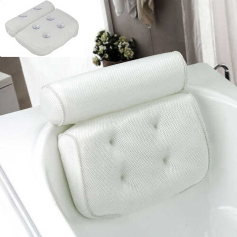 Breathable 3D Mesh Spa Bath Pillow with Suction Cups Neck and Back Support Spa Pillow for Home Hot Tub Bathroom Accersories