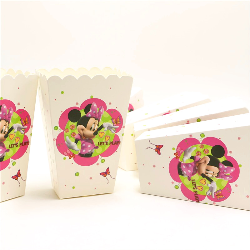 6pcs Minnie Mouse Kids Favors Popcorn Boxes Baby Shower Decoration Paper Minnie Gift Box Happy Birthday Tableware Party Supplies