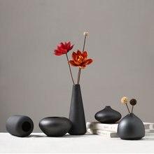 Классическая матовая черная керамическая ваза фарфоровая Цветочная