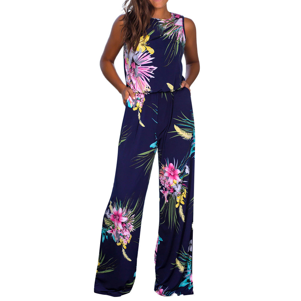 Womail Loose Jumpsuit Overalls Rompers High-Waist Casual Summer Women Floral-Print Sleeveless