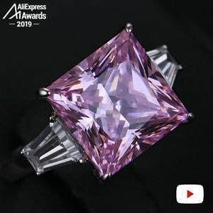 Image 2 - 12*12 ミリメートルプリンセスカットダイヤモンドリングS925 スターリングシルバー罰金結婚式のシトリンサファイアアメジストルビー色のダイヤモンド