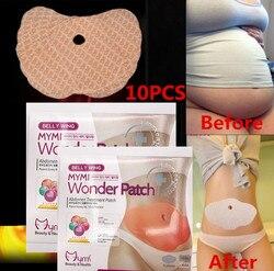30 días 10 piezas Mymi Wonder Patch parche de adelgazamiento rápido herramienta de levantamiento de la cara de cellilita parche delgado del vientre quemadura de grasa del Abdomen ombligo