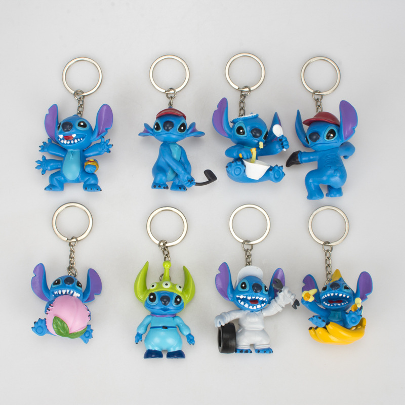 24pcs/lot -3 Sets 3D Stitch Key Ring Portachiavi  Keychain Key Charms For Bags Gift For Dad Charm Leather