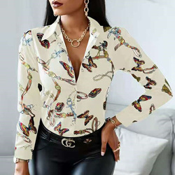 Elegant Spring Floral Print Women Blouse Shirt Autumn Casual Button Long Sleeve Tops Office Sexy V-Neck Bandage Lady Shirt Blusa