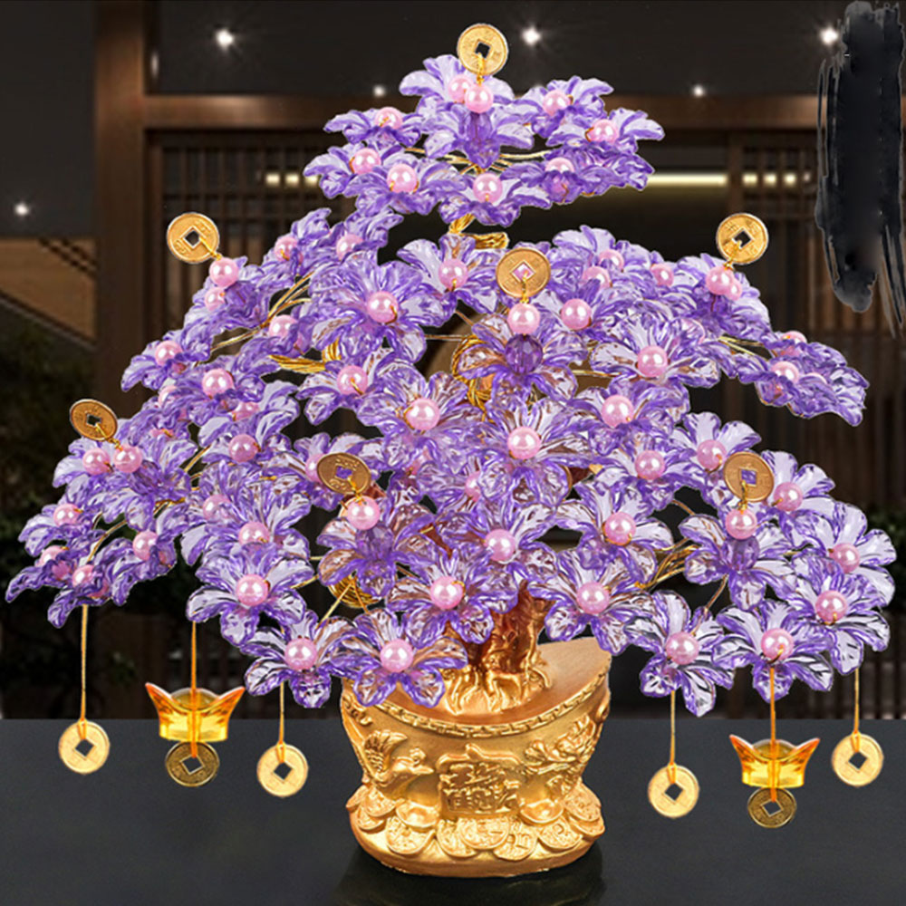 Ornaments Acrylic Glass Beaded Money Tree Bonsai Bedroom Ornament Gift Feng Shui Crafts Diy Handmade For Wealth Luck With Pot Figurines Miniatures Aliexpress