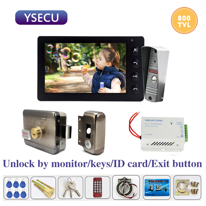 YSECU 7 Inch 800TVL Video Intercom With Lock For Home Electric Lock Door Access Control 3A Power Exit Button