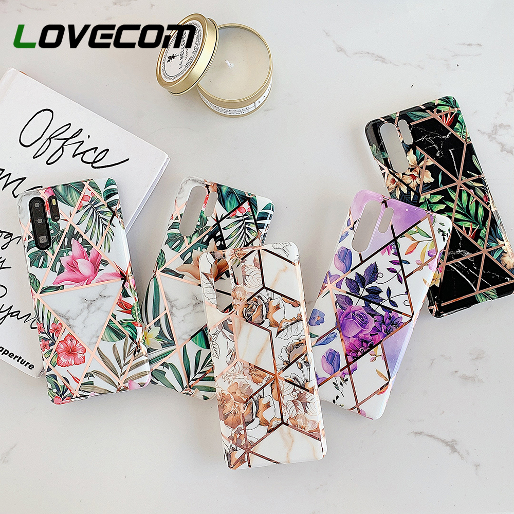 LOVECOM Vintage Flower Leaf Phone Case For Huawei Mate 30 Pro P30 P20 Mate 20 Pro Lite Soft IMD Geometric Glossy Back Cover Gift