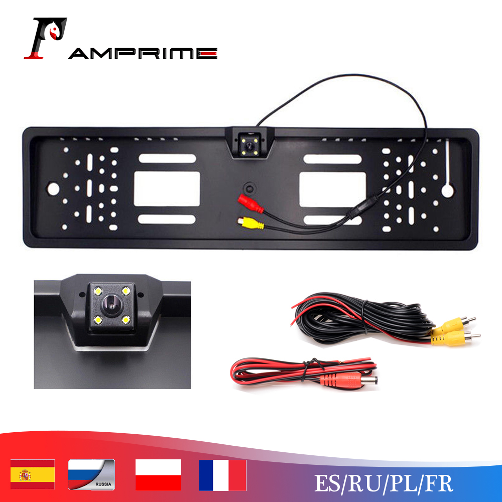 AMPrime Car Rear View Camera Waterproof EU European License Plate Frame Parktronic Reverse 4 LED Night Vision Backup Camera