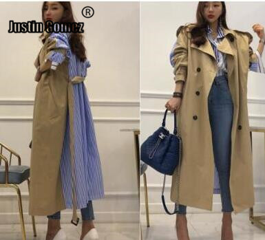 New 2019 Top sales Vintage Stripe print Patchwork Casual loose   Trench   coats Plus size Women Fashion long outerwear