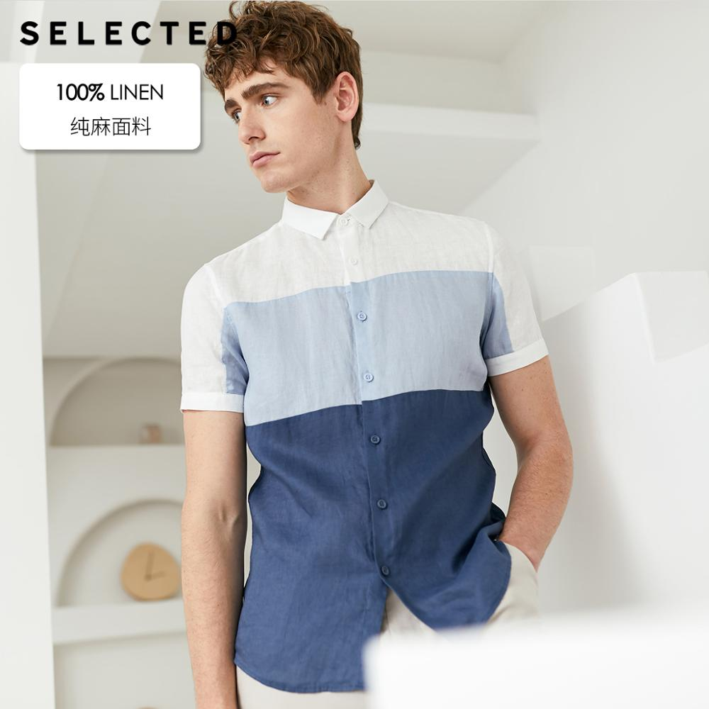 SELECTED Men's Linen Contrast Stitching Trend Assorted Colors Business Casual Short-sleeved Shirt S|419204519