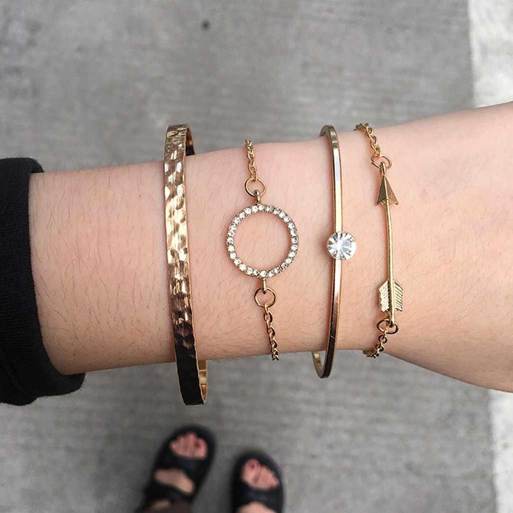 4 sztuk proste Faux kryształ okrągły bransoletka projekt biżuteria dziewczyna kobiety otwarte drutu regulowane bransoletki bransoletki złote bransoletki bransoletki