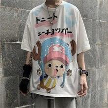 Tshirt Streetwear Loose Fashion Boys Cool Men Shirts White Summer Cartoon T Shirt Fashion Japan Hip Hop Tshirt Male