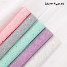 48cm*5yards/roll Fantasy Sequins Star Moon Lace Mesh Flower Gift Wrapping DIY Scrapbook Craft Paper