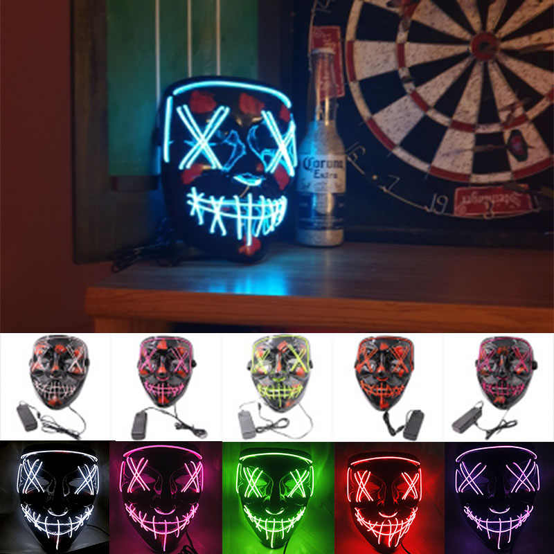 Halloween Led Mascherina Del Partito Masque Maschere Mascherata Neon Maschera di Luce Glow In The Dark Mascara Horror Maska Incandescente Masker