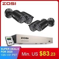 Oferta ZOSI Sistema de CCTV 8CH 4 Uds 720 p/1080 p cámara de seguridad exterior resistente a la intemperie DVR Kit día/noche sistema de Video vigilancia en casa