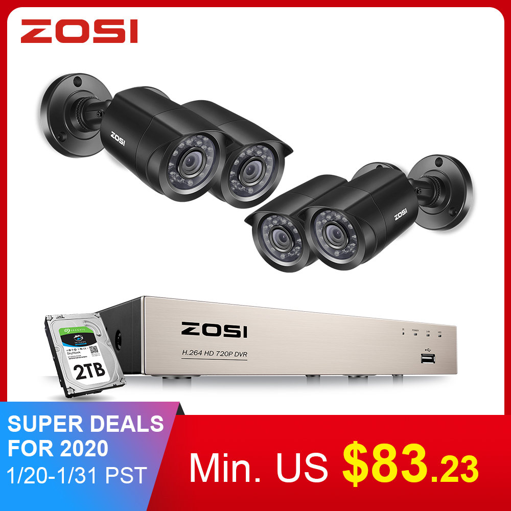 ZOSI <font><b>8CH</b></font> <font><b>CCTV</b></font> System 4PCS 720 p/1080 p Outdoor Wetter Sicherheit Kamera <font><b>DVR</b></font> Kit Tag/Nacht home Video Surveillance System image