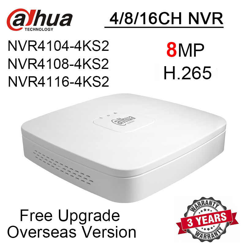 Dahua NVR4104-4KS2 NVR4108-4KS2 NVR4116-4KS2 8MP 4CH 8CH 16CH NVR 4K & H.265 registratore video di rete