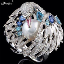 Blaike Exquisite White Swan Synthetic Pearl Rings For Women
