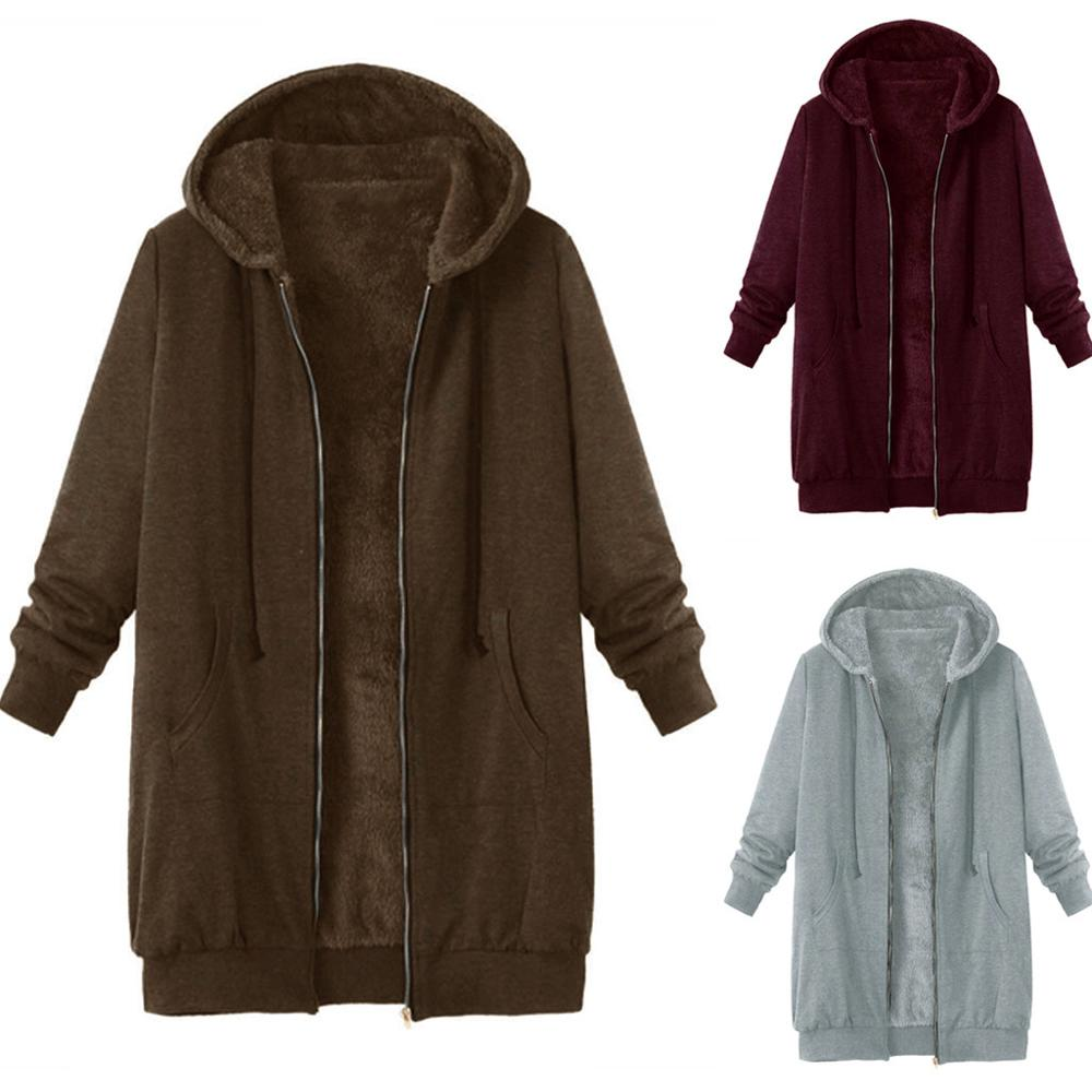 Plush Coat Women Winter Plus Size 5XL Coat Fashion Casual Retro Solid Hooded Zipper Coat Warm Soft Female Overcoat