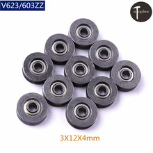 Atoplee 10pcs/Lot V623 603ZZ 3X12X4mm V Groove Bearing Steel Deep Groove Ball Bearing Traces Walking Guide Rail Pulley Bearings