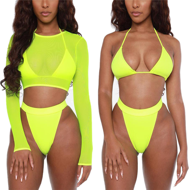 3PCS Womens Swimwear Summer Solid Color Swimsuit Beach Bathing Suit Female Push Up Padded Bra Bikini Set + Long Sleeves Cover Up