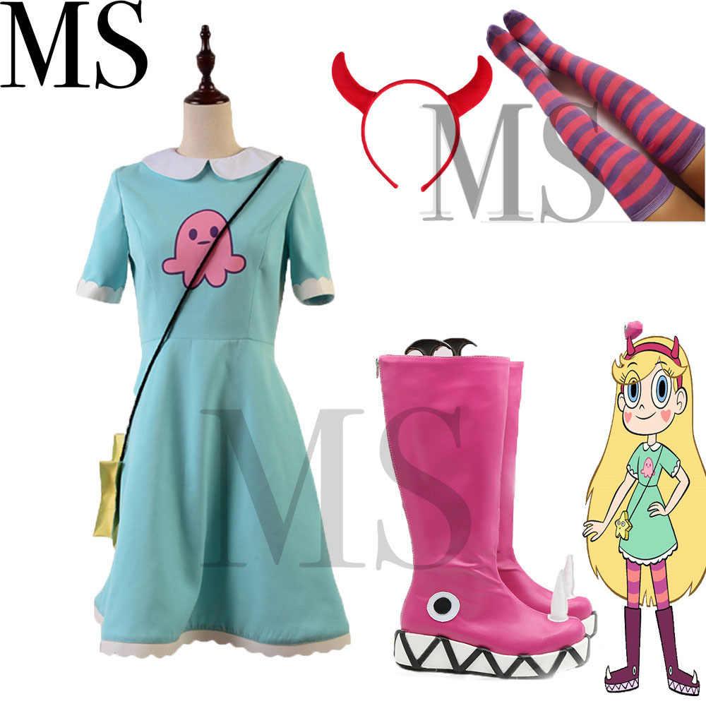Halloween Star contro le forze del male costume Star vs. le Forze del Male Della Principessa Star Farfalla del Costume di Cosplay del Vestito + Borsa