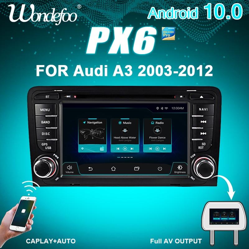 Central multimídia automotiva 2 Din PX6, Android 10, rádio, navegação GPS, som estéreo, computador de bordo com tela, para Audi A3 8P 2003-2012 S3 2006-2012 RS3 2011