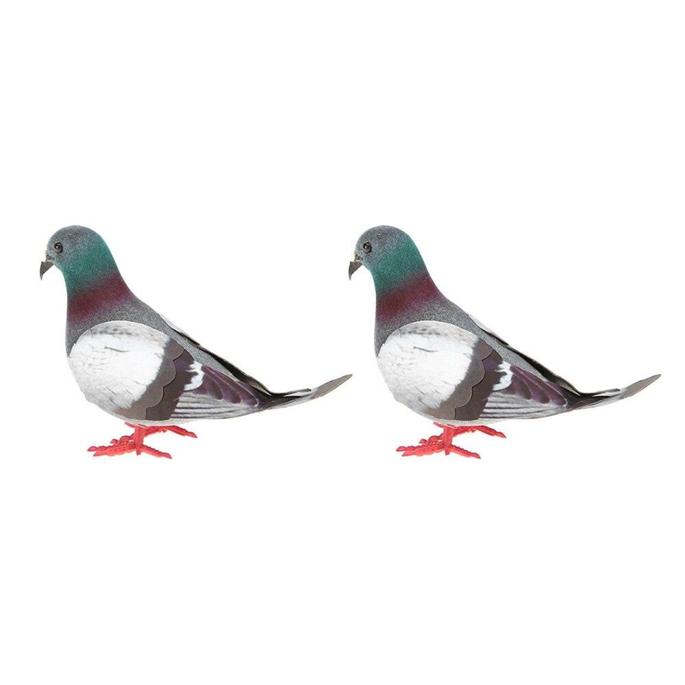 2 Pieces Simulation Foam Pigeon Model Fake Artificial Imitation Bird Garden Toy  Sfoam + Plastic